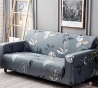 Натяжний чохол на диван тримісний (сірий в квітах) 185-235 см