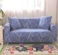 Накидка на двухместный диван универсальная (синяя с узором) 145-180 см