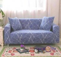 Універсальна накидка на диван двомісний (синя з візерунком) 145-180 см