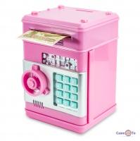 Дитячий сейф скарбничка - іграшка сейф з кодовим замком, Рожевий