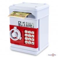 Скарбничка сейф для дітей - іграшка сейф з кодом, Червоно-біла
