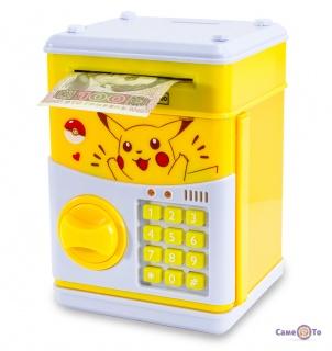 Скарбничка дитяча - сейф для грошей з кодовим замком Покемон Пікачу