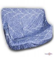 Натяжной чехол на кресло или одноместный диван (синий с узором) 90-140 см