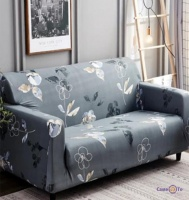 Універсальний чохол для двомісного дивана (сірий в квітку) 145-180 см