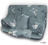 Универсальный чехол для кресла или дивана (серый в цветок) 90-140 см