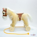 Плюшевий дерев'янний дитячий коник на колесах (висота - 30 см)