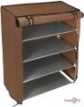 Каркасный тканевый шкаф для обуви на 4 яруса - кофейная подставка под обувь
