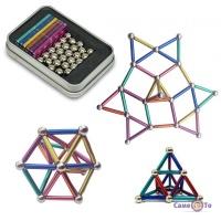Конструктор Neocube кольоровий (36 кольорових паличок і 24 кульки-металік)