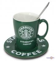 Набор керамическая чашка Starbucks (Старбакс) + блюдце и ложка